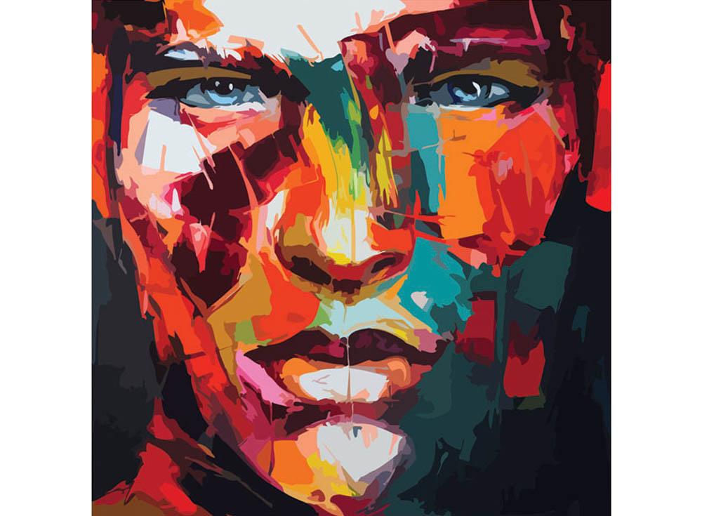 Картина по номерам «Абстрактный портрет мужской»Раскраски по номерам Color Kit<br><br><br>Артикул: CD005<br>Основа: Холст<br>Сложность: сложные<br>Размер: 30x30 см<br>Количество цветов: 25<br>Техника рисования: Без смешивания красок