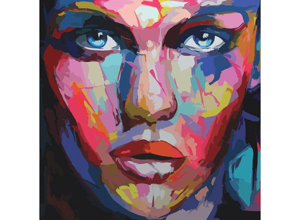 Картина по номерам «Абстрактный портрет женский»Раскраски по номерам Color Kit<br><br><br>Артикул: CD006<br>Основа: Холст<br>Сложность: сложные<br>Размер: 30x30 см<br>Количество цветов: 25<br>Техника рисования: Без смешивания красок
