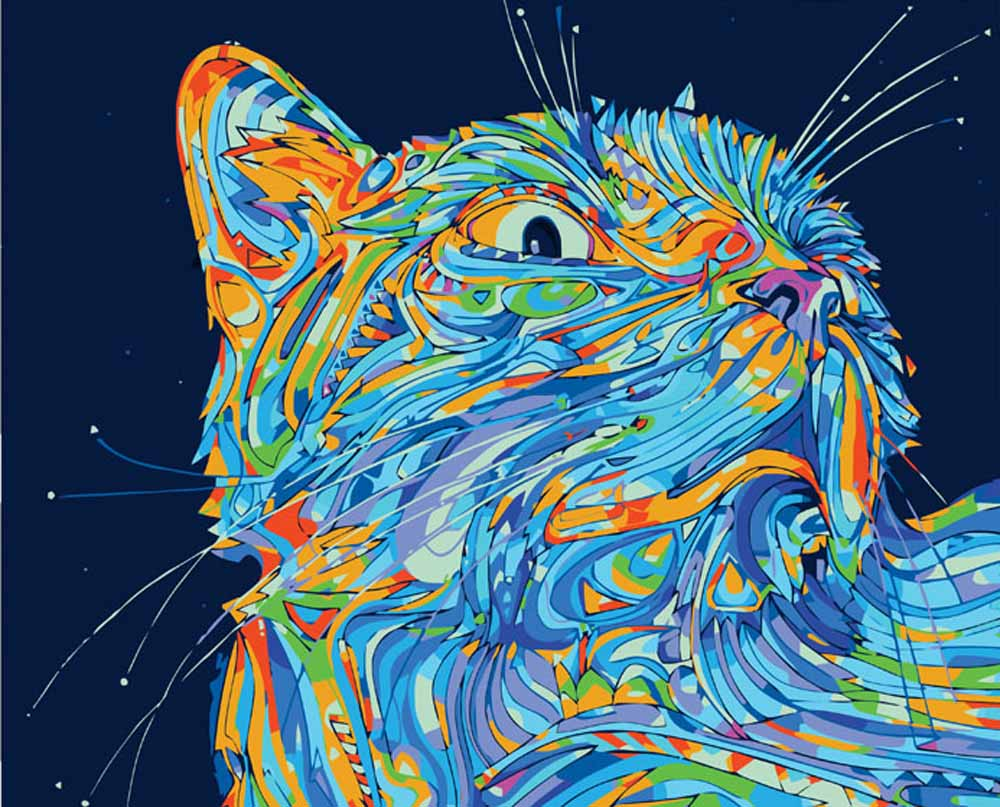 Картина по номерам «Лунный кот»Раскраски по номерам Color Kit<br><br><br>Артикул: CE204<br>Основа: Холст<br>Сложность: сложные<br>Размер: 30x40 см<br>Количество цветов: 12<br>Техника рисования: Без смешивания красок