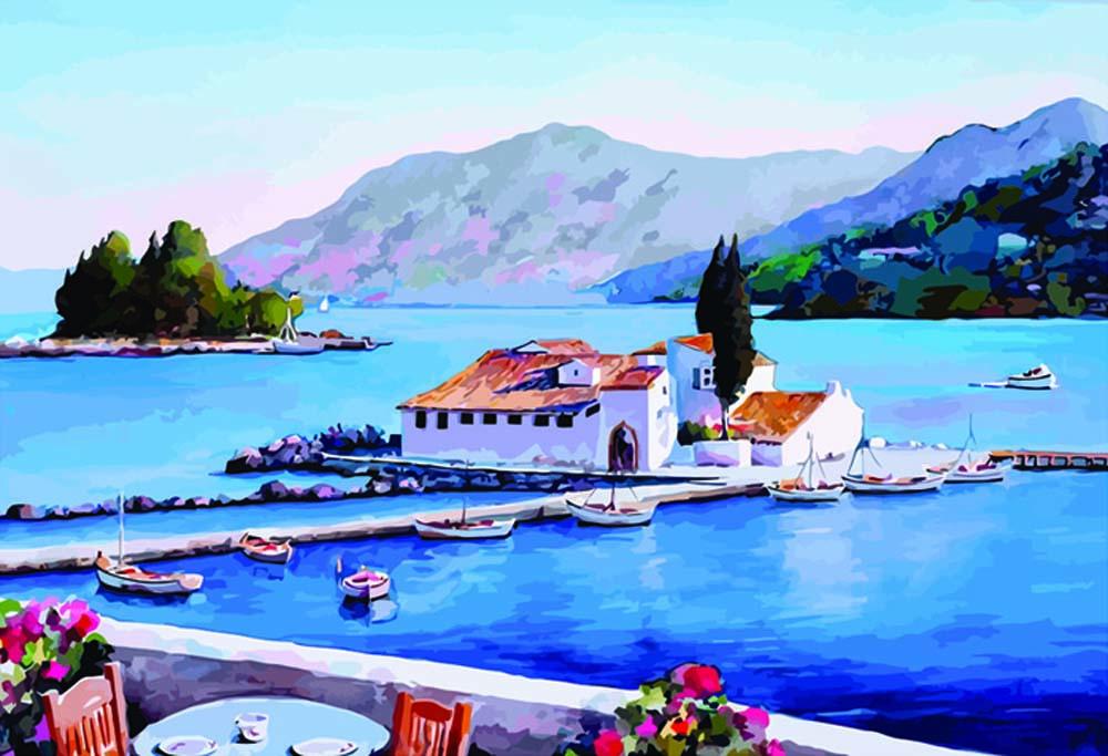 Картина по номерам «Греция»Раскраски по номерам Color Kit<br><br><br>Артикул: CE214<br>Основа: Холст<br>Сложность: средние<br>Размер: 30x40 см<br>Количество цветов: 25<br>Техника рисования: Без смешивания красок