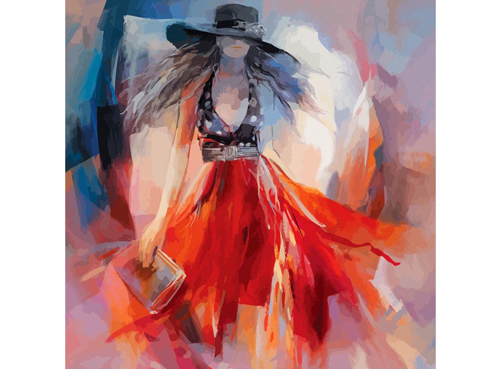Картина по номерам «Lady in red»Раскраски по номерам Color Kit<br><br><br>Артикул: cf010<br>Основа: Холст<br>Сложность: средние<br>Размер: 40x40 см<br>Количество цветов: 24<br>Техника рисования: Без смешивания красок