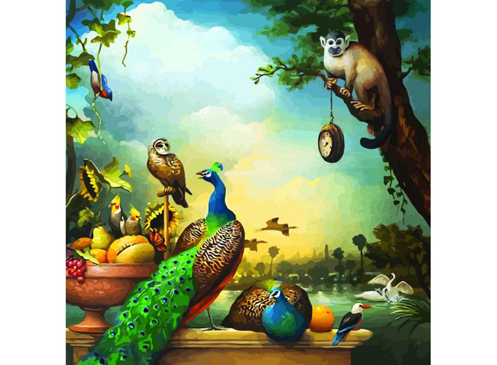 Картина по номерам «Натюрморт с павлинами»Раскраски по номерам Color Kit<br><br><br>Артикул: CF022<br>Основа: Холст<br>Сложность: легкие<br>Размер: 40x40 см<br>Количество цветов: 25<br>Техника рисования: Без смешивания красок