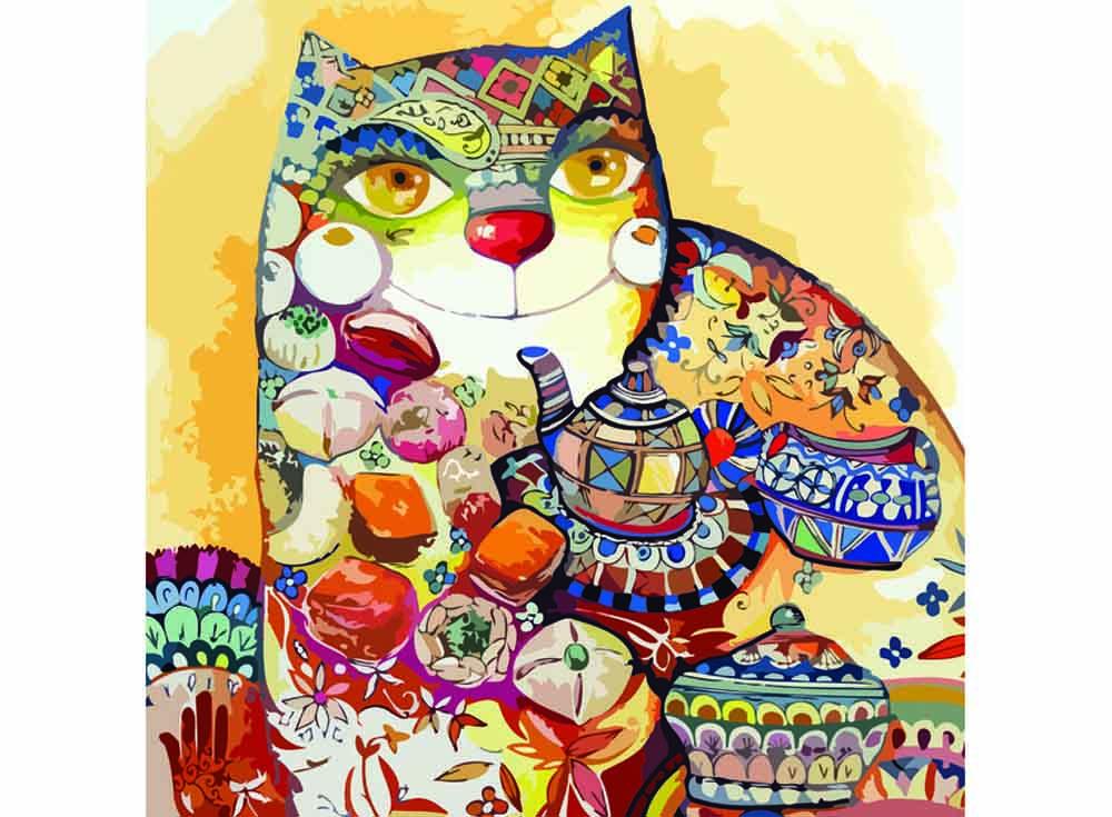Картина по номерам «Чайный кот»Раскраски по номерам Color Kit<br><br><br>Артикул: CF025<br>Основа: Холст<br>Сложность: средние<br>Размер: 40x40 см<br>Количество цветов: 25<br>Техника рисования: Без смешивания красок