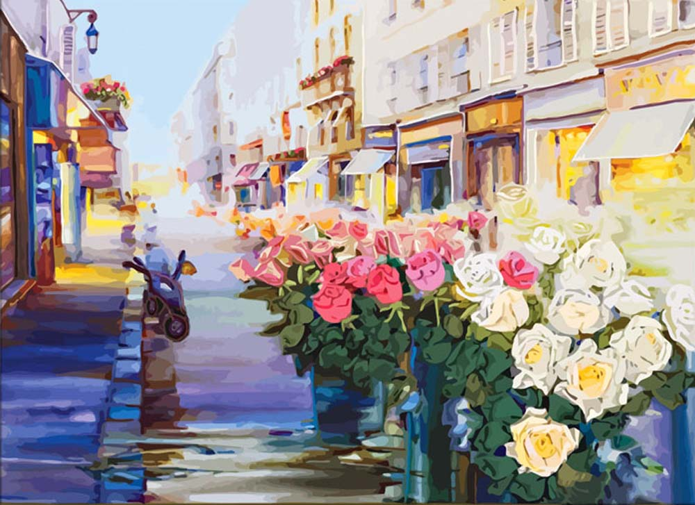Картина по номерам «Улица Роз»Раскраски по номерам Color Kit<br><br><br>Артикул: CG601<br>Основа: Холст<br>Сложность: средние<br>Размер: 40x50 см<br>Количество цветов: 25<br>Техника рисования: Без смешивания красок