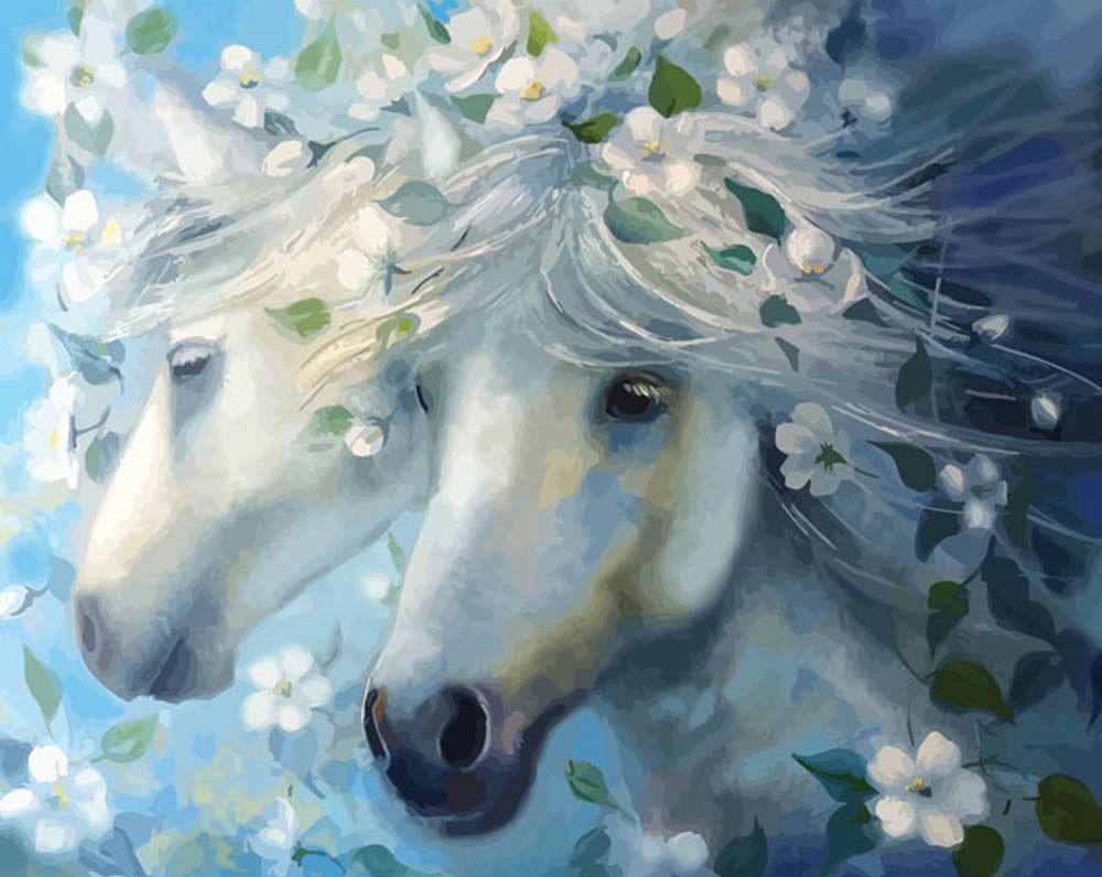 «Белые лошади»Раскраски по номерам Color Kit<br><br><br>Артикул: CG626<br>Основа: Холст<br>Сложность: средние<br>Размер: 40x50<br>Количество цветов: 25<br>Техника рисования: Без смешивания красок