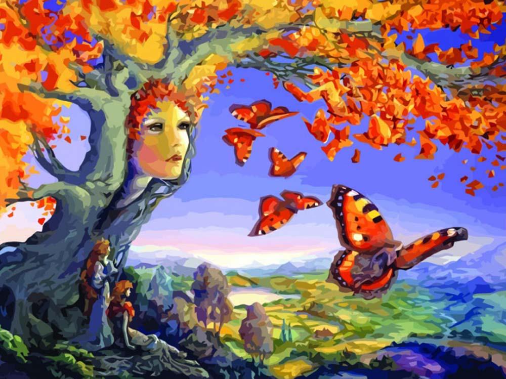 Картина по номерам «Осенние фантазии»Раскраски по номерам Color Kit<br><br><br>Артикул: CG633<br>Основа: Холст<br>Сложность: средние<br>Размер: 40x50 см<br>Количество цветов: 25<br>Техника рисования: Без смешивания красок