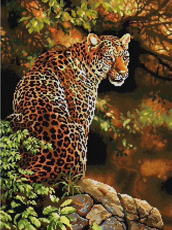 Алмазная вышивка леопард готовая работа
