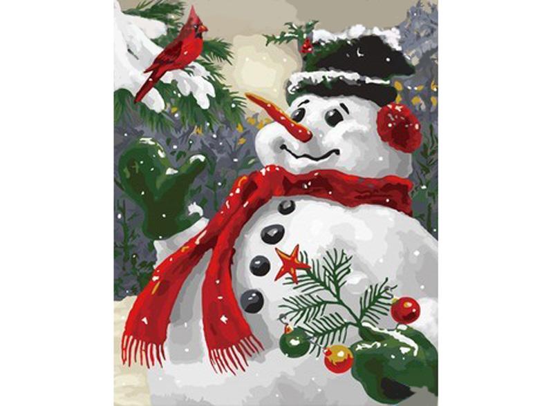 «Снеговик»Hobbart<br><br><br>Артикул: DZ4050011<br>Основа: Холст<br>Сложность: очень сложные<br>Размер: 40x50 см<br>Количество цветов: 30<br>Техника рисования: Без смешивания красок