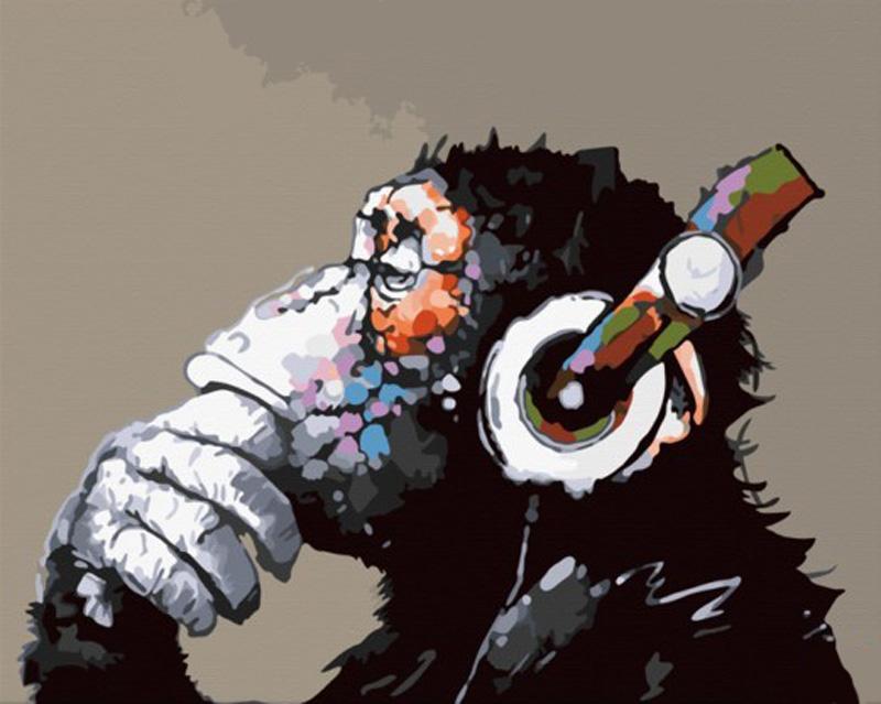 «Monkey — Music. Мелодия мысли»Hobbart<br><br><br>Артикул: DZ4050019<br>Основа: Холст<br>Сложность: средние<br>Размер: 40x50<br>Количество цветов: 26<br>Техника рисования: Без смешивания красок