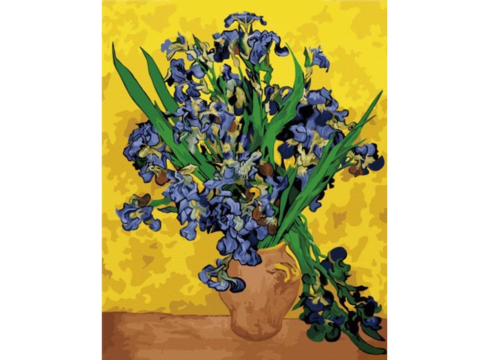 Картина по номерам «Ирисы в вазе» Ван ГогаHobbart<br><br><br>Артикул: DZ4050020<br>Основа: Холст<br>Сложность: сложные<br>Размер: 40x50 см<br>Количество цветов: 33<br>Техника рисования: Без смешивания красок