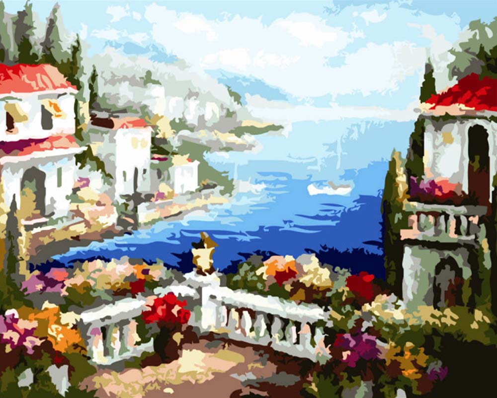 Картина по номерам «Средиземноморские виды»Раскраски по номерам Color Kit<br><br><br>Артикул: G277<br>Основа: Холст<br>Сложность: сложные<br>Размер: 40x50 см<br>Количество цветов: 25<br>Техника рисования: Без смешивания красок