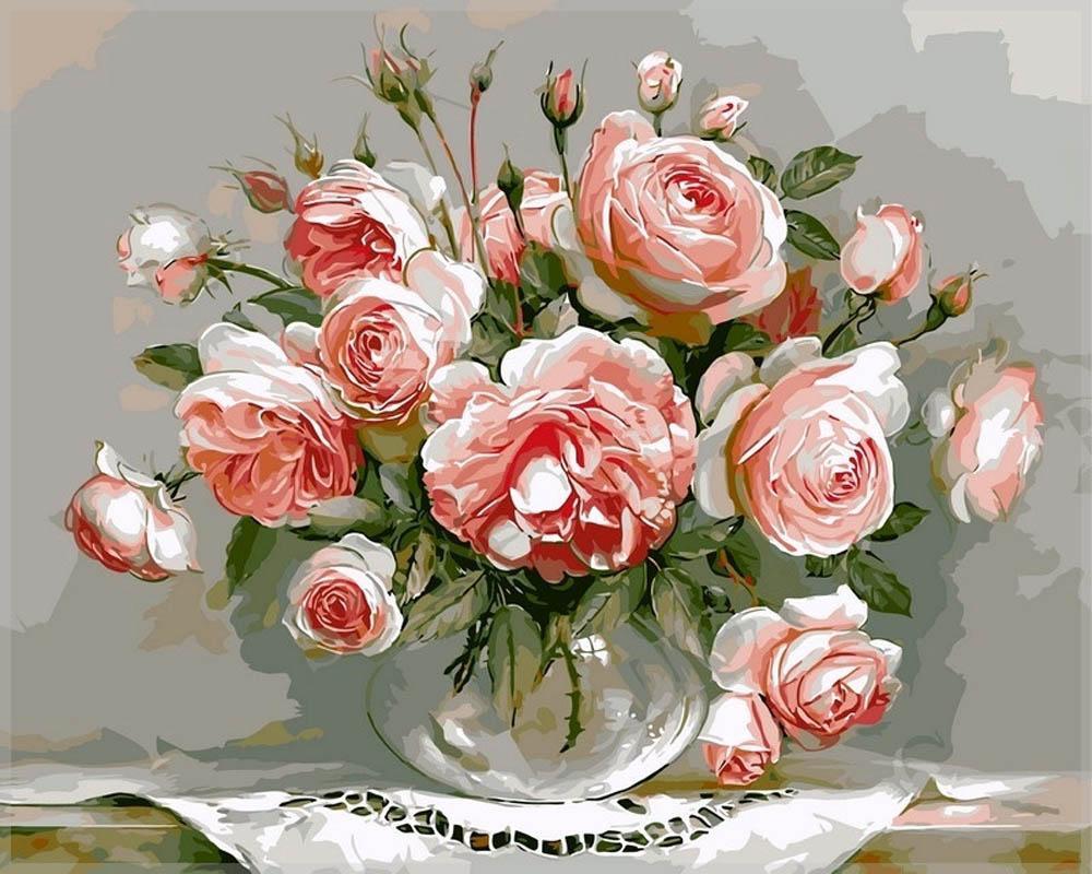 «Нежность утренних роз»Раскраски по номерам Paintboy (Original)<br><br><br>Артикул: G436_R<br>Основа: Холст<br>Сложность: средние<br>Размер: 40x50 см<br>Количество цветов: 21<br>Техника рисовани: Без смешивани красок