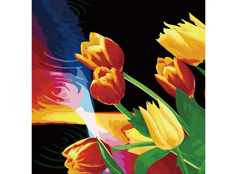 Картина по номерам «Тюльпаны»Hobbart<br><br><br>Артикул: HB4040005<br>Основа: Холст<br>Сложность: сложные<br>Размер: 40x40 см<br>Количество цветов: 12<br>Техника рисования: Без смешивания красок