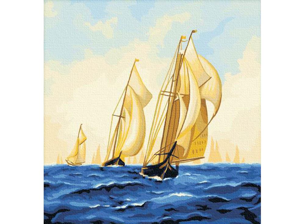 «На всех парусах»Hobbart<br><br><br>Артикул: HB4040018<br>Основа: Холст<br>Сложность: сложные<br>Размер: 40x40<br>Количество цветов: 25<br>Техника рисования: Без смешивания красок