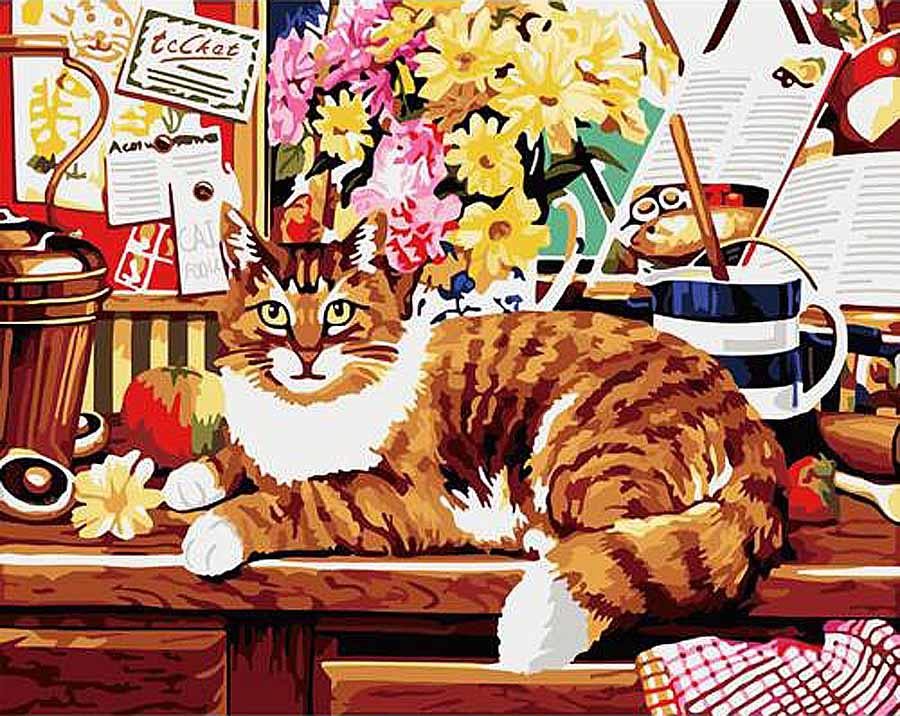 «Кот ученый»Hobbart<br><br><br>Артикул: HB4050021<br>Основа: Холст<br>Сложность: очень сложные<br>Размер: 40x50 см<br>Количество цветов: 30<br>Техника рисования: Без смешивания красок