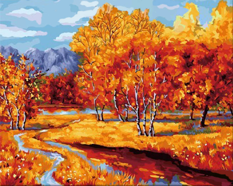 Картина по номерам «Осенний наряд»Hobbart<br><br><br>Артикул: HB4050239<br>Основа: Холст<br>Сложность: сложные<br>Размер: 40x50 см<br>Количество цветов: 25<br>Техника рисования: Без смешивания красок