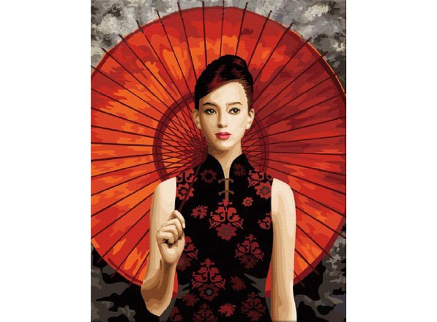 Картина по номерам «Девушка с солнечным зонтиком»Hobbart<br><br><br>Артикул: HB4050245<br>Основа: Холст<br>Сложность: сложные<br>Размер: 40x50 см<br>Количество цветов: 25<br>Техника рисования: Без смешивания красок