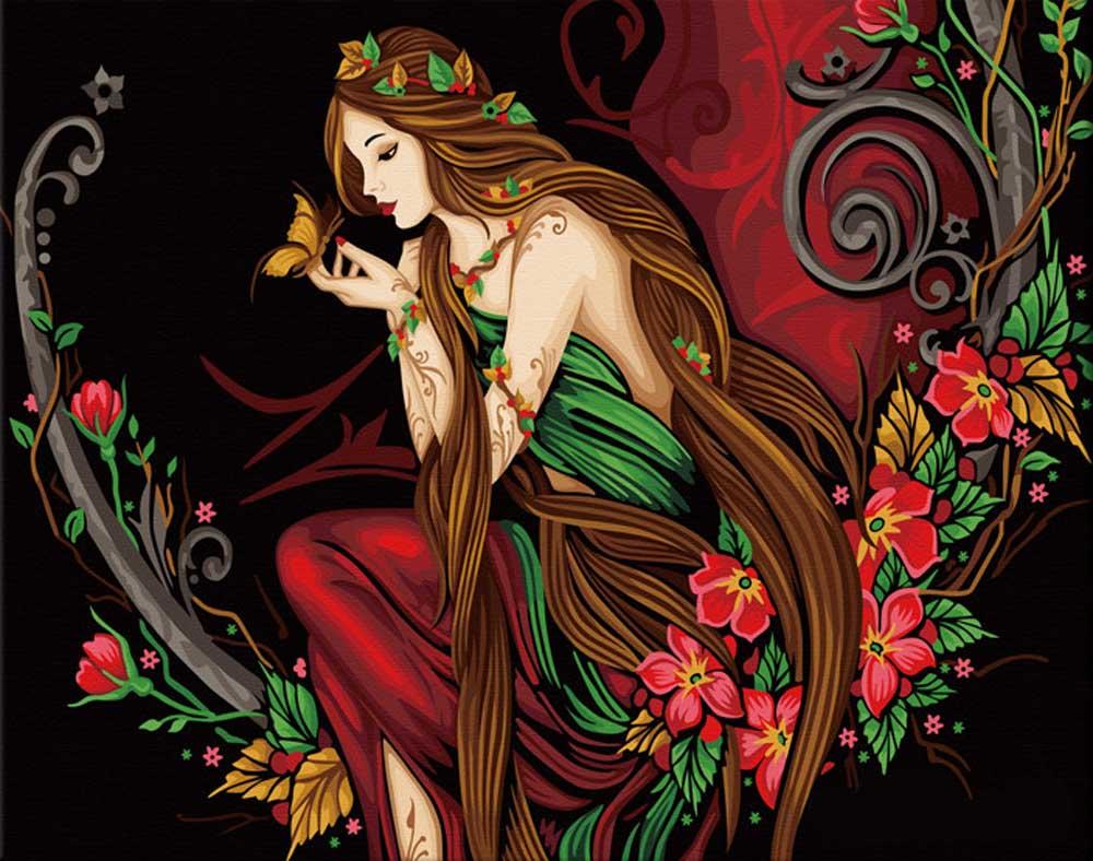Картина по номерам «Нимфа цветов»Hobbart<br><br><br>Артикул: JH4050006<br>Основа: Холст<br>Сложность: сложные<br>Размер: 40x50 см<br>Количество цветов: 29<br>Техника рисования: Без смешивания красок