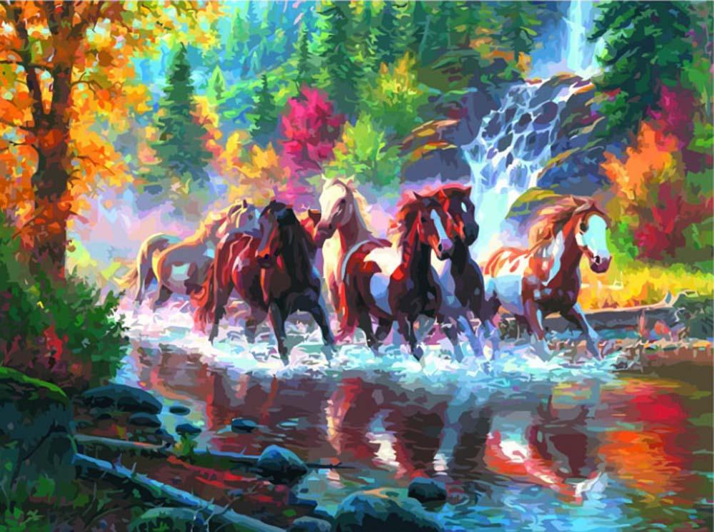 «Золотые лошади»Раскраски по номерам Color Kit<br><br><br>Артикул: MMC5034<br>Основа: Холст<br>Сложность: средние<br>Размер: 50x65 см<br>Количество цветов: 33<br>Техника рисования: Без смешивания красок