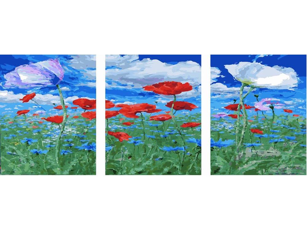«Под небом голубым»Раскраски по номерам Color Kit<br><br><br>Артикул: P011<br>Основа: Холст<br>Сложность: сложные<br>Размер: 3 шт. 40х50 см<br>Количество цветов: 39<br>Техника рисования: Без смешивания красок
