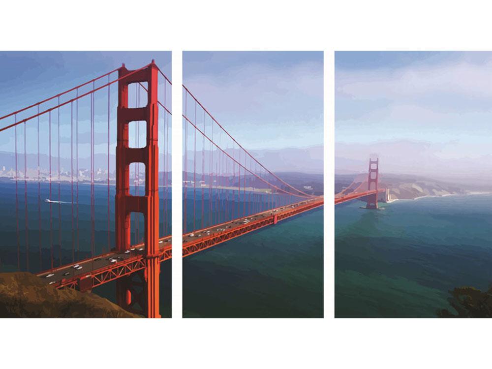 «Мост Золотые ворота»Раскраски по номерам Color Kit<br><br><br>Артикул: P015<br>Основа: Холст<br>Сложность: сложные<br>Размер: 3 шт. 30х50 см<br>Количество цветов: 25<br>Техника рисования: Без смешивания красок