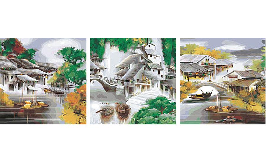 Картина по номерам «Китайская деревня»Раскраски по номерам Color Kit<br><br><br>Артикул: P062<br>Основа: Холст<br>Сложность: сложные<br>Размер: 3 шт. 50x50 см<br>Количество цветов: 25<br>Техника рисования: Без смешивания красок