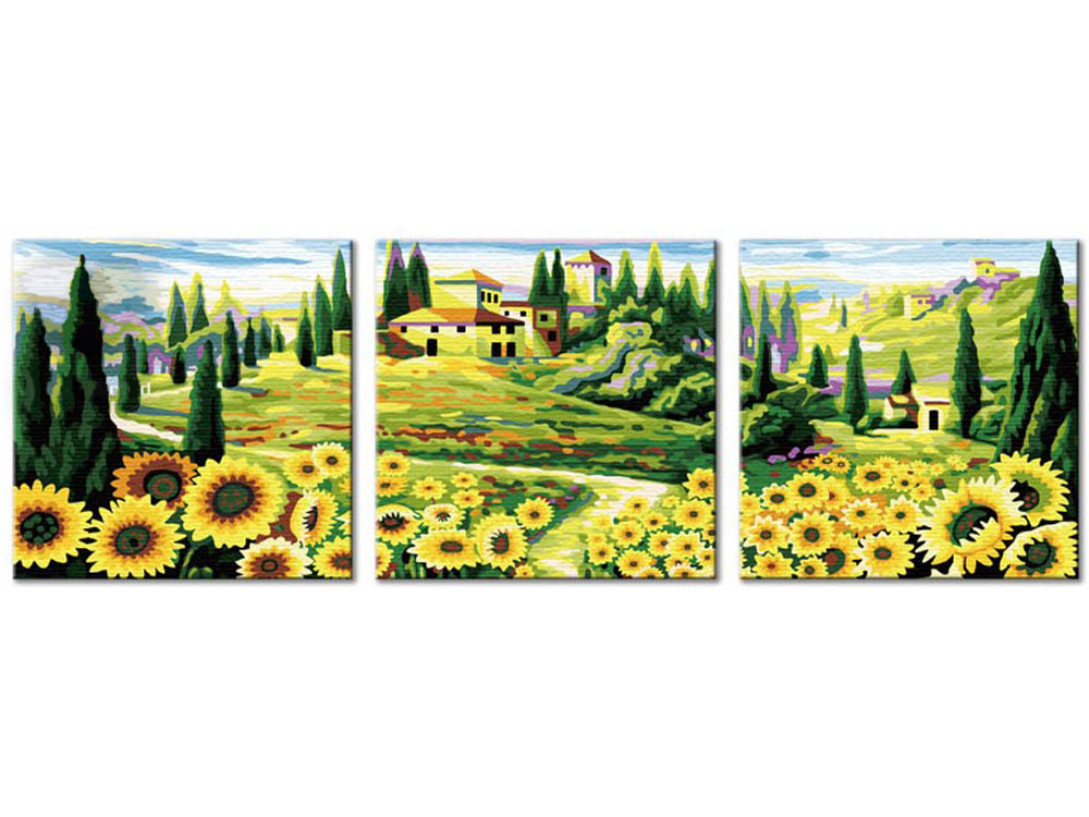 Картина по номерам «Подсолнуховое раздолье»Hobbart<br><br><br>Артикул: PH340120082<br>Основа: Холст<br>Сложность: средние<br>Размер: 3 шт. 40x40 см<br>Количество цветов: 23<br>Техника рисования: Без смешивания красок