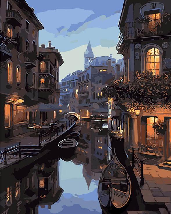 Картина по номерам «Канал в Венеции» Евгения ЛушпинаPaintboy (Premium)<br><br><br>Артикул: GX7673<br>Основа: Холст<br>Сложность: сложные<br>Размер: 40x50 см<br>Количество цветов: 25<br>Техника рисования: Без смешивания красок