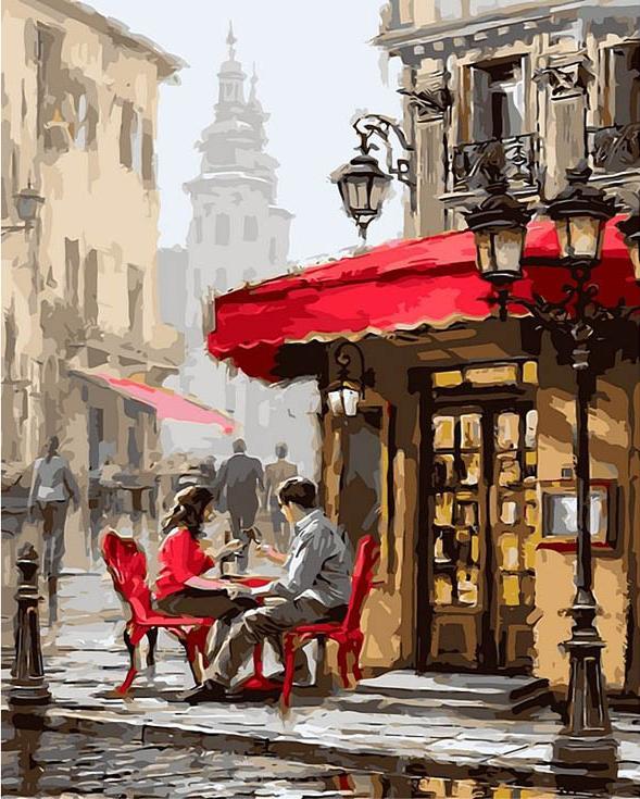 Картина по номерам «Романтический ресторанчик» Ричарда МакнейлаPaintboy (Premium)<br><br><br>Артикул: Gx8089<br>Основа: Холст<br>Сложность: средние<br>Размер: 40x50 см<br>Количество цветов: 24<br>Техника рисования: Без смешивания красок