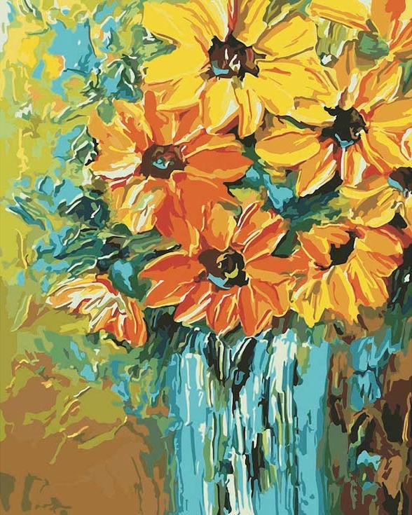 Картина по номерам «Солнечный букет»Menglei (Premium)<br><br><br>Артикул: MG349<br>Основа: Холст<br>Сложность: сложные<br>Размер: 40x50 см<br>Количество цветов: 24<br>Техника рисования: Без смешивания красок