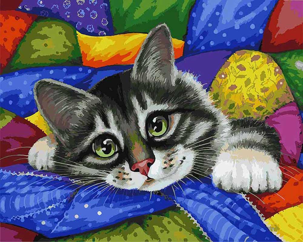 Картина по номерам «Котик в лоскутках» Ирины ГармашовойКартины по номерам Белоснежка<br><br><br>Артикул: 002-AB<br>Основа: Холст<br>Сложность: очень сложные<br>Размер: 40x50 см<br>Количество цветов: 40<br>Техника рисования: Без смешивания красок