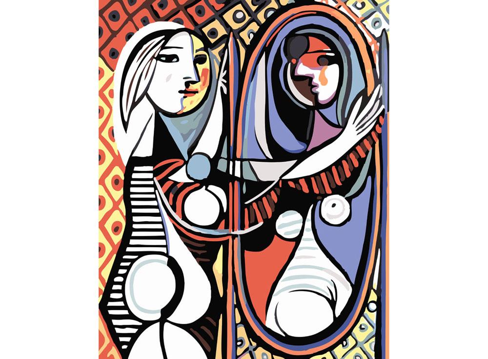 «Девушка перед зеркалом» Пабло ПикассоКартины по номерам Белоснежка<br><br><br>Артикул: 062-CG<br>Основа: Холст<br>Сложность: средние<br>Размер: 30x40<br>Количество цветов: 18<br>Техника рисования: Без смешивания красок