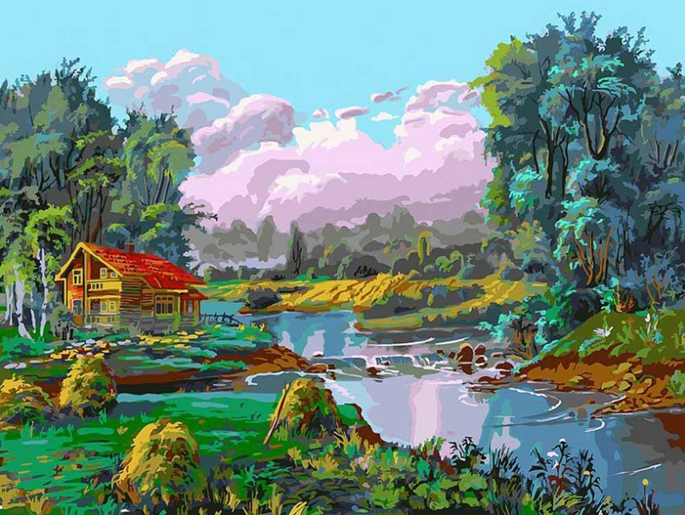 Картина по номерам «Стога у реки»Картины по номерам Белоснежка<br><br><br>Артикул: 067-AS<br>Основа: Холст<br>Сложность: очень сложные<br>Размер: 30x40 см<br>Количество цветов: 35<br>Техника рисования: Без смешивания красок
