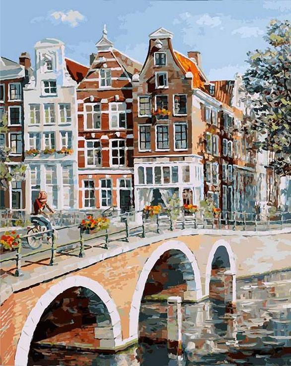 «Императорский канал в Амстердаме»Картины по номерам Белоснежка<br><br><br>Артикул: 117-AB<br>Основа: Холст<br>Сложность: очень сложные<br>Размер: 40x50 см<br>Количество цветов: 40<br>Техника рисования: Без смешивания красок
