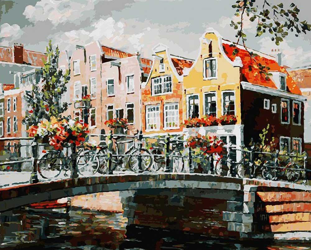 Картина по номерам «Амстердам. Мост через канал»Картины по номерам Белоснежка<br><br><br>Артикул: 119-AB<br>Основа: Холст<br>Сложность: очень сложные<br>Размер: 40x50 см<br>Количество цветов: 35<br>Техника рисования: Без смешивания красок