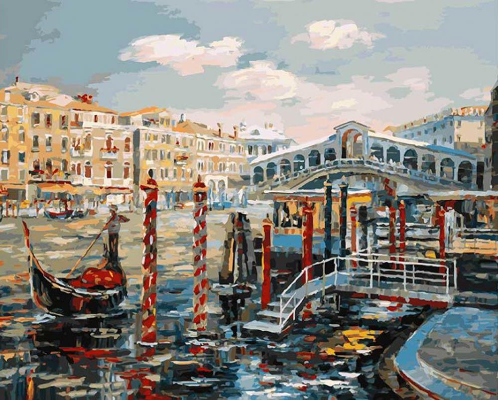 «Венеция. Мост Риальто»Картины по номерам Белоснежка<br><br><br>Артикул: 127-AB<br>Основа: Холст<br>Сложность: очень сложные<br>Размер: 40x50<br>Количество цветов: 35<br>Техника рисования: Без смешивания красок