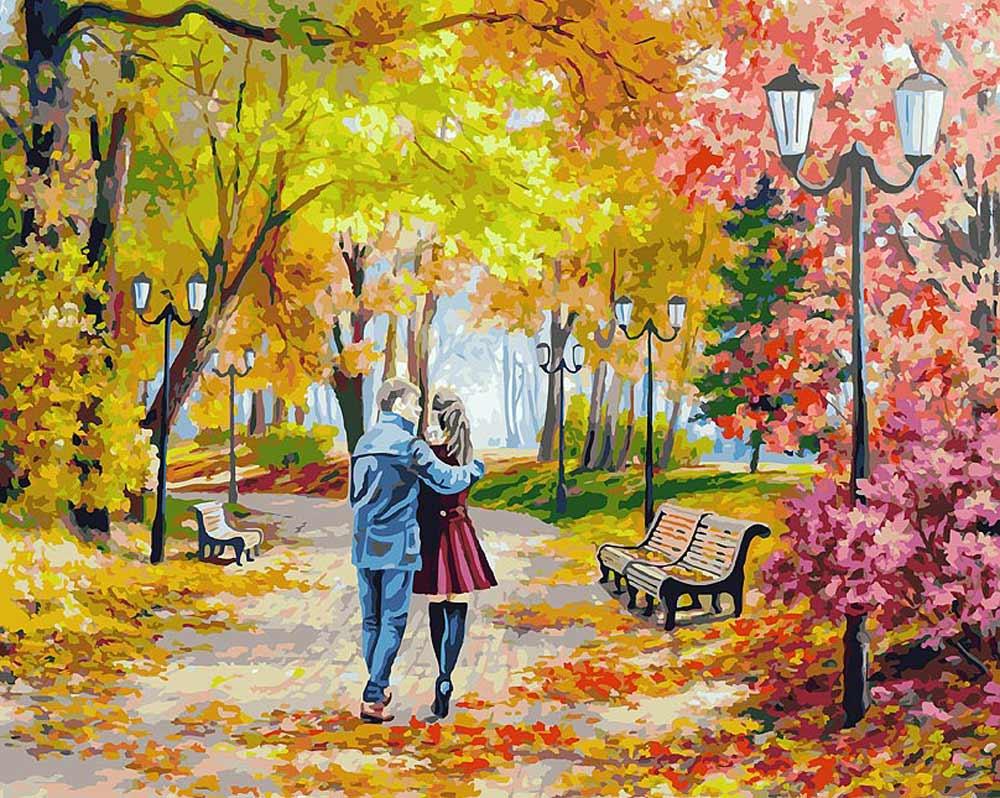 «Осенний парк, скамейка, двое» Елены СамарскойКартины по номерам Белоснежка<br><br><br>Артикул: 142-AB<br>Основа: Холст<br>Сложность: очень сложные<br>Размер: 40x50 см<br>Количество цветов: 40<br>Техника рисования: Без смешивания красок