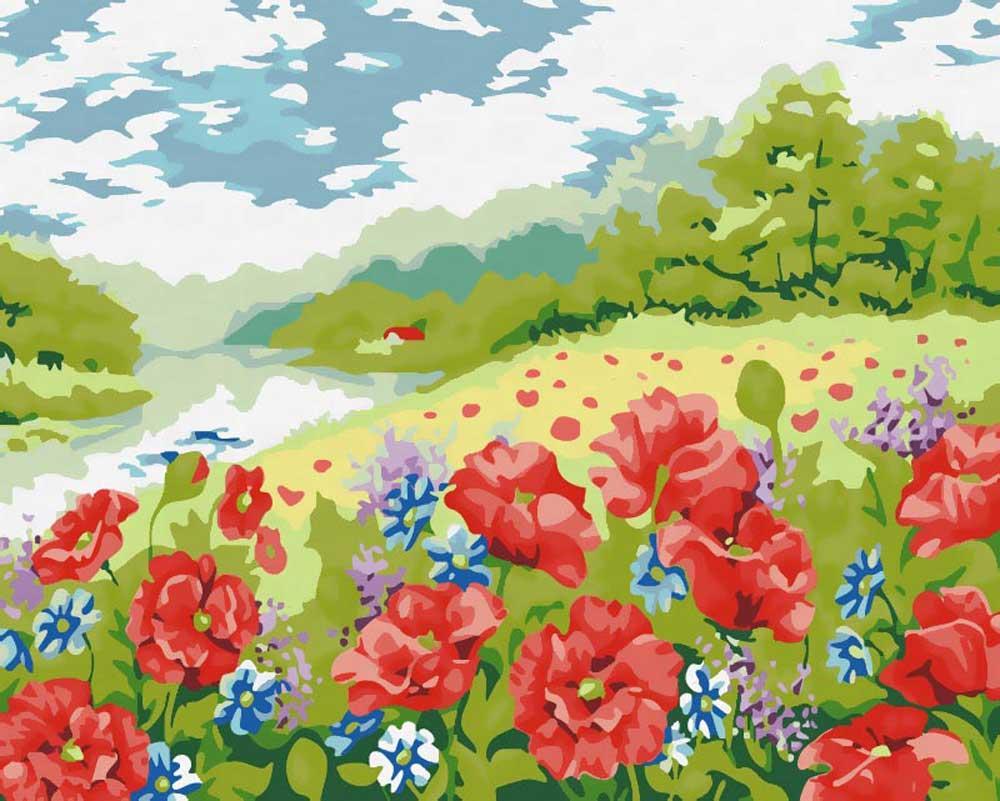 Картина по номерам «В ромашковом краю»Картины по номерам Белоснежка<br><br><br>Артикул: 144-AB<br>Основа: Холст<br>Сложность: очень сложные<br>Размер: 40x50 см<br>Количество цветов: 35<br>Техника рисования: Без смешивания красок