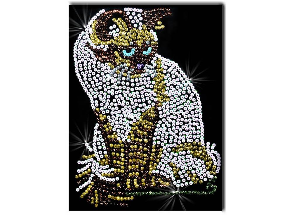 Мозаика из пайеток «Кошка»Мозаика из пайеток<br><br><br>Артикул: 019<br>Основа: Планшет из пенопласта<br>Размер: 27x36 см<br>Возраст: от 8 лет