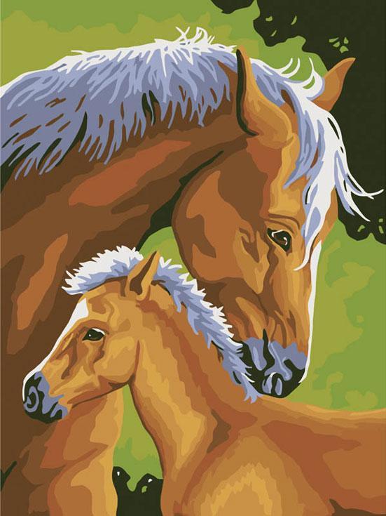 Картина по номерам «Лошадь и жеребенок»Картины по номерам Белоснежка<br><br><br>Артикул: 207-CE<br>Основа: Холст<br>Сложность: средние<br>Размер: 30x40 см<br>Количество цветов: 14<br>Техника рисования: Без смешивания красок
