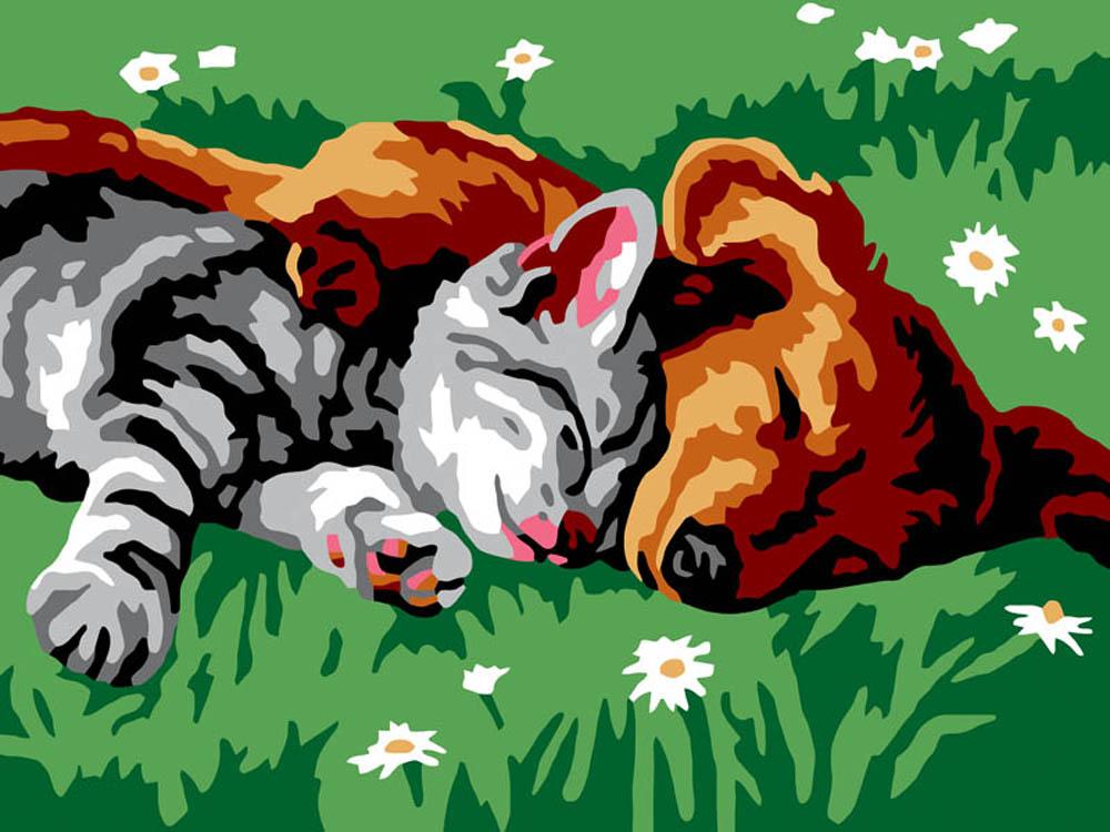 Картина по номерам «Котенок и щенок»Цветной (Standart)<br><br><br>Артикул: EX5013_Z<br>Основа: Холст<br>Сложность: легкие<br>Размер: 30x40 см<br>Количество цветов: 10<br>Техника рисования: Без смешивания красок