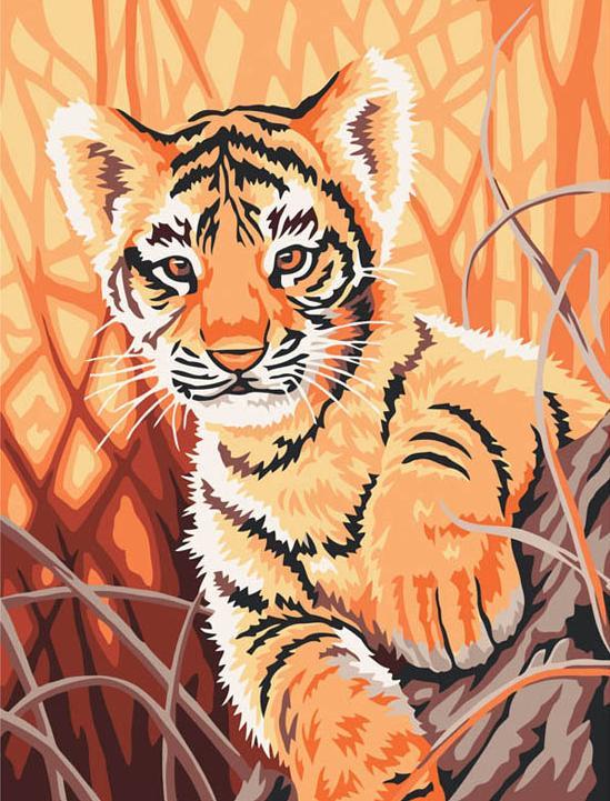 Картина по номерам «Тигренок в джунглях»Картины по номерам Белоснежка<br><br><br>Артикул: 217-CE<br>Основа: Холст<br>Сложность: легкие<br>Размер: 30x40 см<br>Количество цветов: 12<br>Техника рисования: Без смешивания красок
