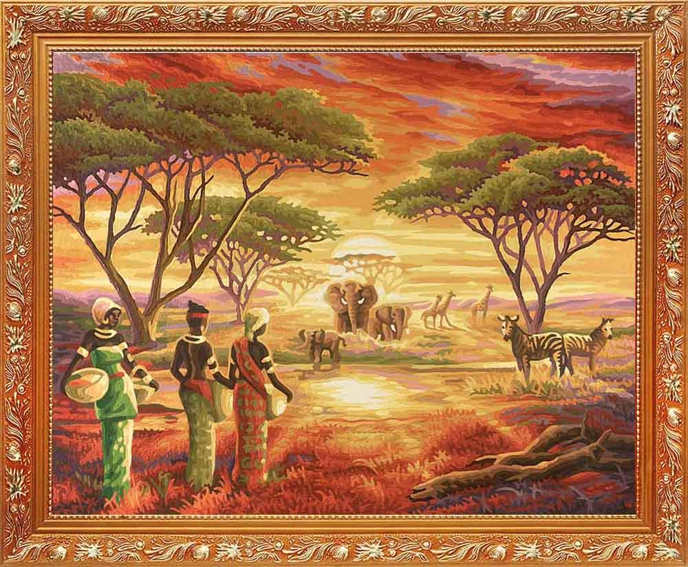 """Картина по номерам «Африка»Schipper (Шиппер)<br>Производитель наборов картин по номерам """"Schipper"""" - это исключительное качество всех составляющих. Особенностью этого бренда является то, что основа картины - высококачественный картон, покрытие которого имитирует натуральный холст. Краски """"Schipper"""" обл...<br><br>Артикул: 9130426<br>Основа: Картон<br>Сложность: сложные<br>Размер: 40x50 см<br>Количество цветов: 27<br>Техника рисования: Без смешивания красок"""