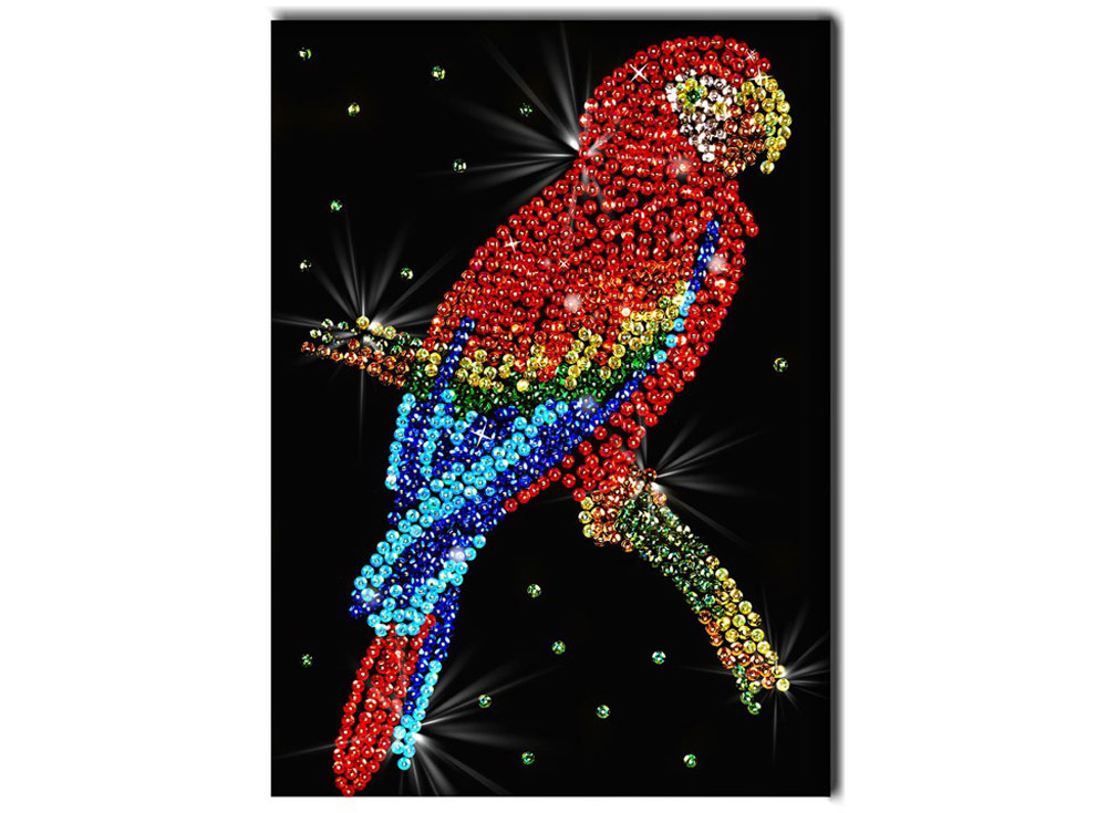 Мозаика из пайеток «Попугай какаду»Мозаика из пайеток<br><br><br>Артикул: 027<br>Основа: Планшет из пенопласта<br>Размер: 27x36