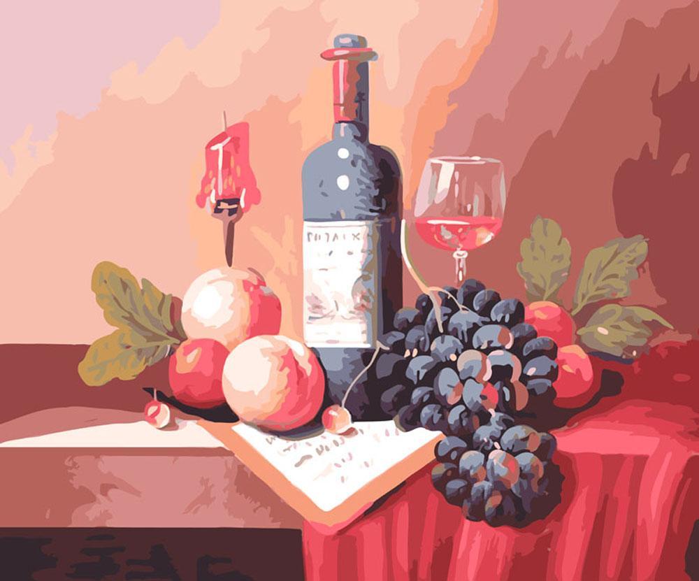 Картина по номерам «Натюрморт с вином»Картины по номерам Белоснежка<br><br><br>Артикул: 310-CG<br>Основа: Холст<br>Сложность: средние<br>Размер: 40x50 см<br>Количество цветов: 29<br>Техника рисования: Без смешивания красок