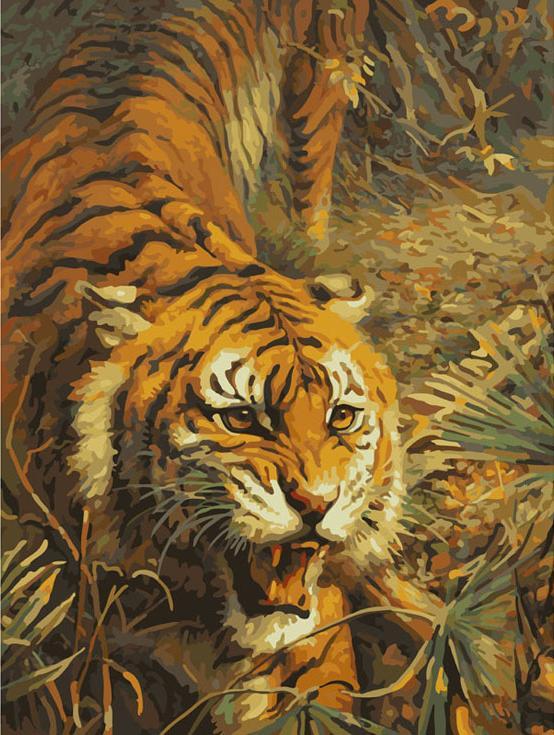 Картина по номерам «Свирепый хищник»Раскраски по номерам<br><br>
