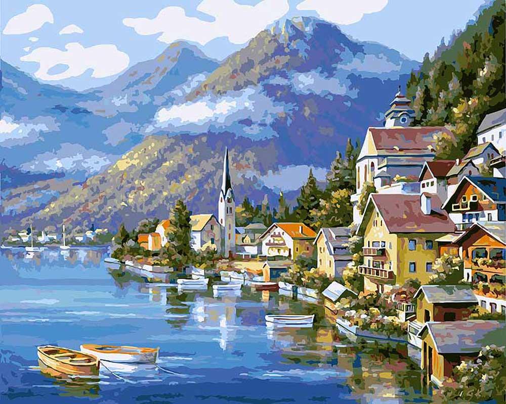 «Хальштадт. Австрия»Картины по номерам Белоснежка<br><br><br>Артикул: 363-CG<br>Основа: Холст<br>Сложность: сложные<br>Размер: 40x50<br>Количество цветов: 29<br>Техника рисования: Без смешивания красок