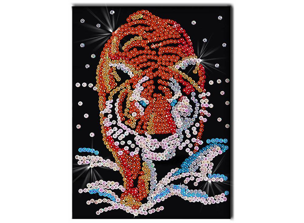 Мозаика из пайеток «Тигр»Мозаика из пайеток<br><br><br>Артикул: 003<br>Основа: Планшет из пенопласта<br>Размер: 27x36 см<br>Возраст: от 8 лет