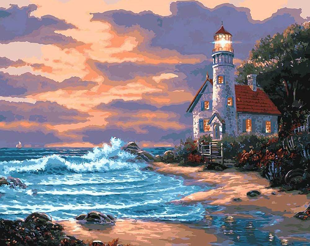 Картина по номерам «Дом с маяком»Картины по номерам Белоснежка<br><br><br>Артикул: 401-AB<br>Основа: Холст<br>Сложность: очень сложные<br>Размер: 40x50 см<br>Количество цветов: 35<br>Техника рисования: Без смешивания красок