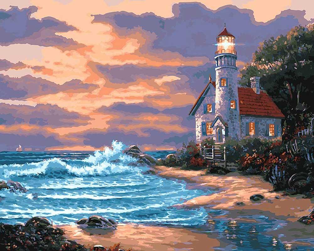 «Дом с маяком»Картины по номерам Белоснежка<br><br><br>Артикул: 401-AB<br>Основа: Холст<br>Сложность: очень сложные<br>Размер: 40x50 см<br>Количество цветов: 35<br>Техника рисования: Без смешивания красок